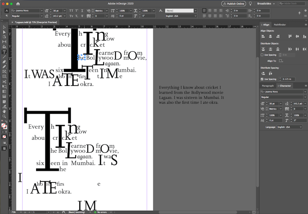 Screenshot of InDesign workspace