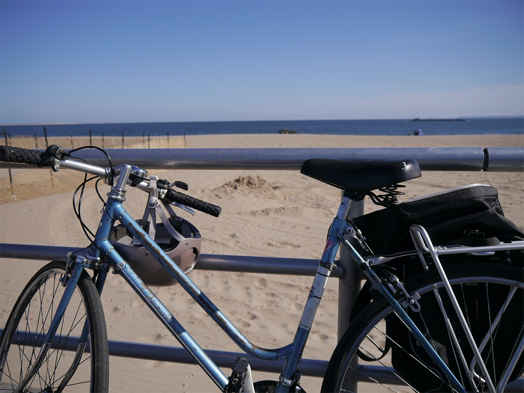 The artist's bicycle at at Jacob Riis Park in the Rockaways.