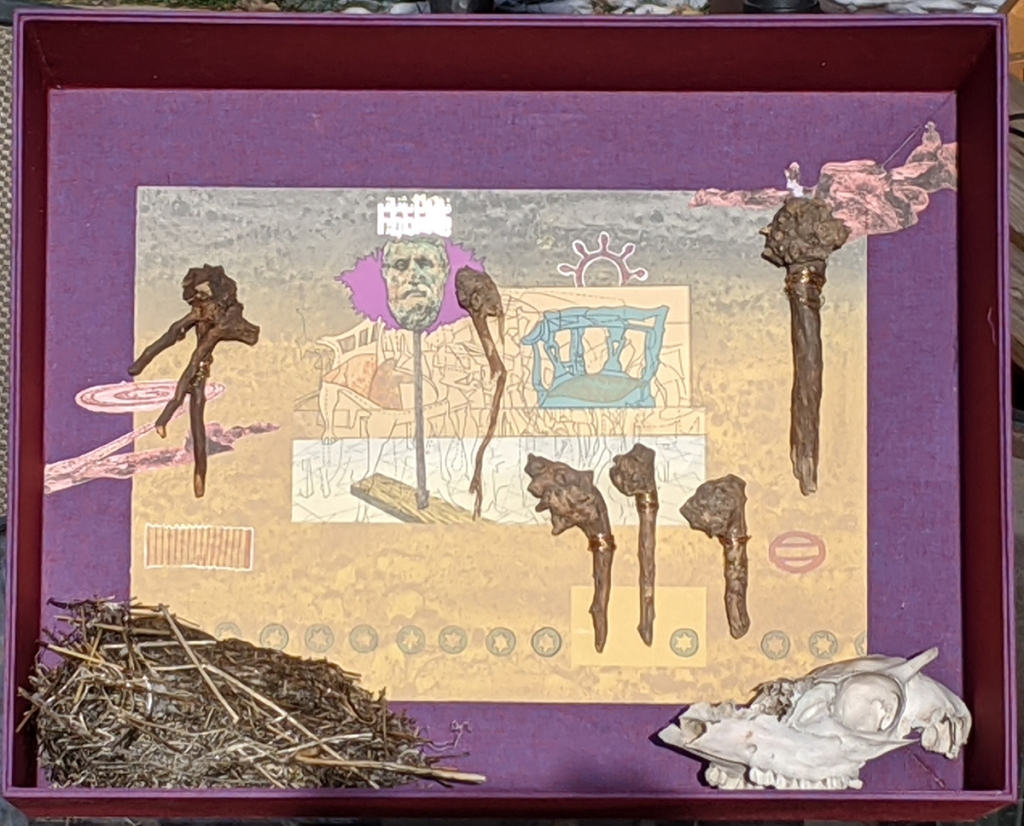 """Exercises in Symbolism after Wayne Kimball & Bob Kleinschmidt"" - boxed assemblage with print, animal skull, driftwood and bird nest."