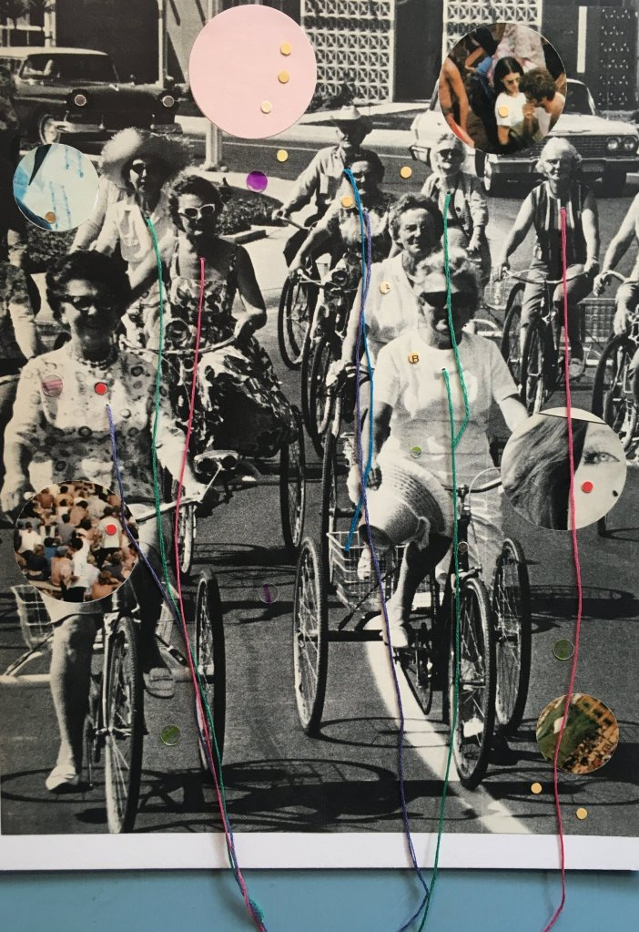 The Ghosts of Suicide. Paper collage with thread. Image includes a vintage photo of a group of senior women riding bicycles together.