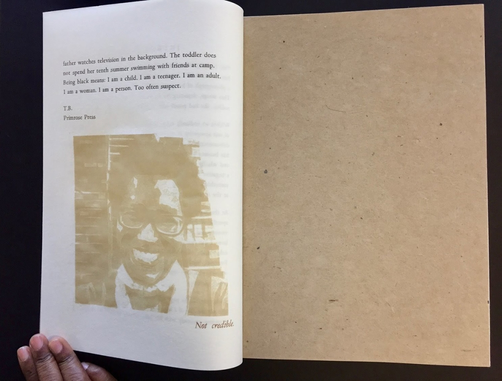 "Final page of ""I AM"", which includes a portrait of the artist and a text caption: ""Not credible."""