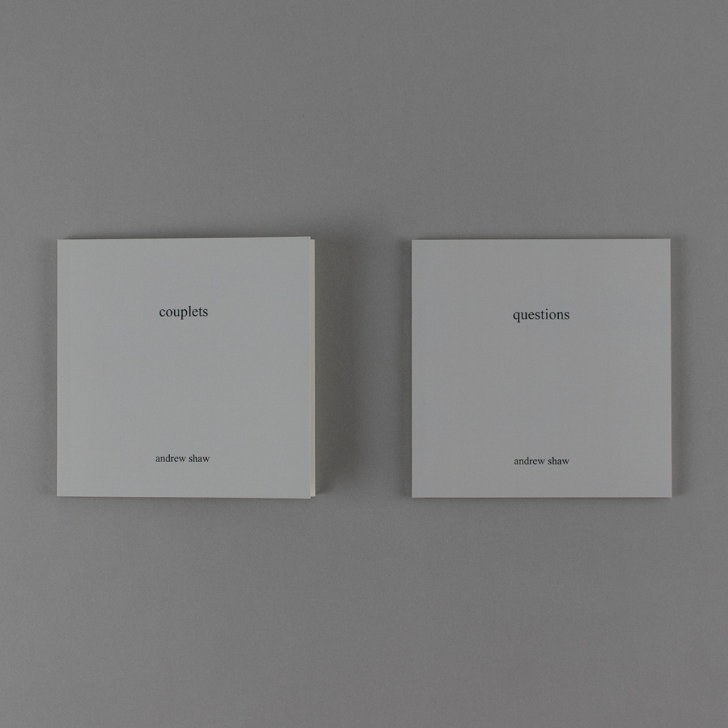 "Front covers of two gray, square books: ""couplets"" and ""questions"" by Andrew Shaw side by side."