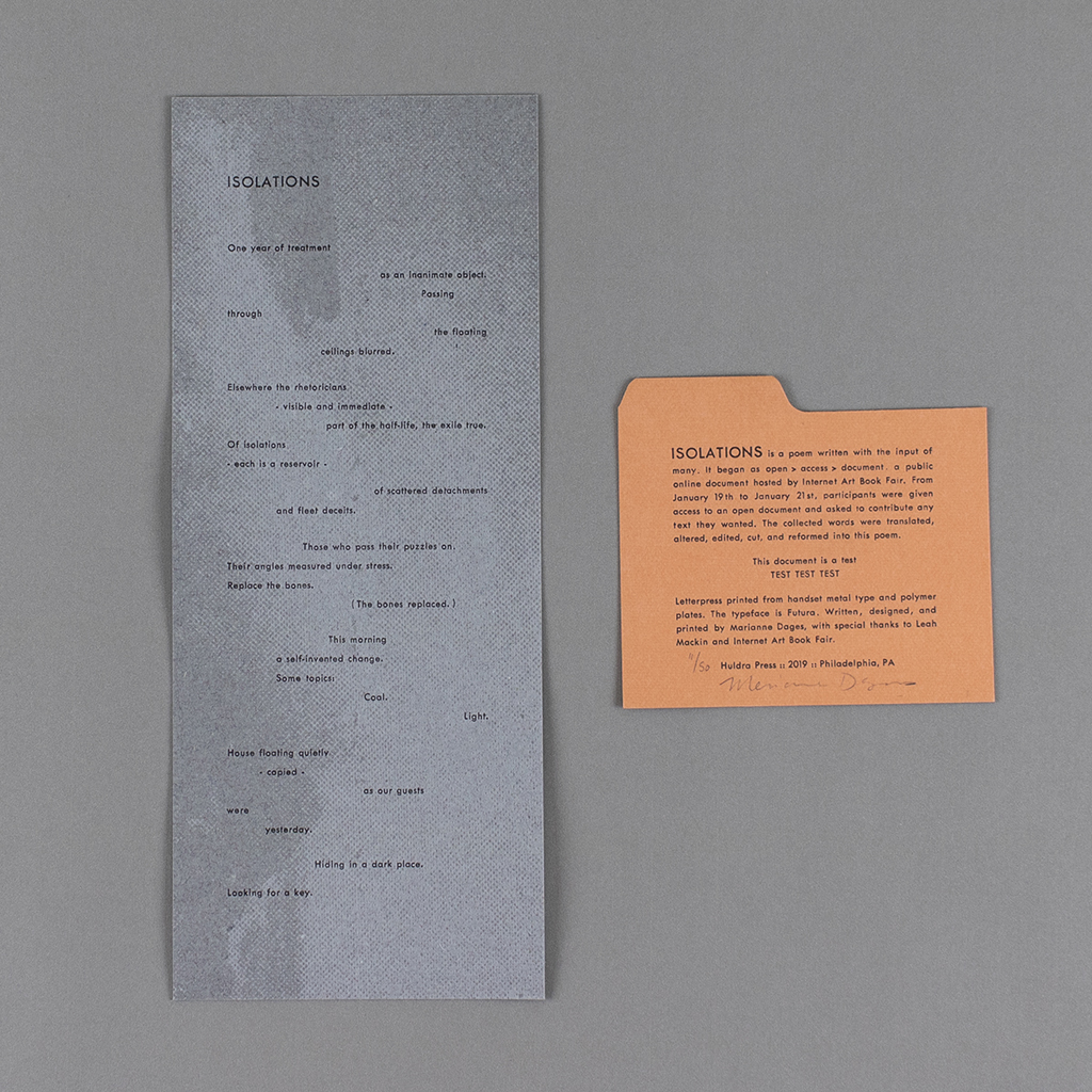 ISOLATIONS broadside and colophon