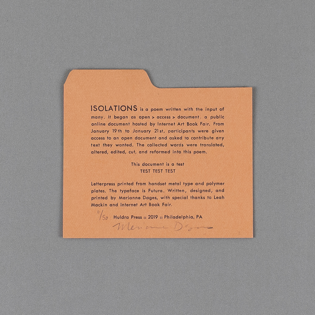 ISOLATIONS colophon