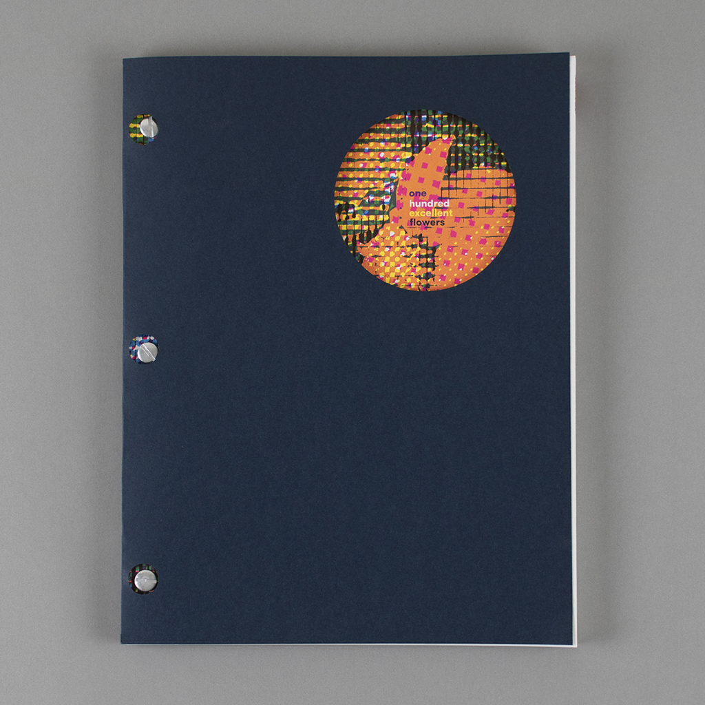 """Front cover of """"One Hundred Excellent Flowers"""" shows screw post binding and blue paper wrap"""