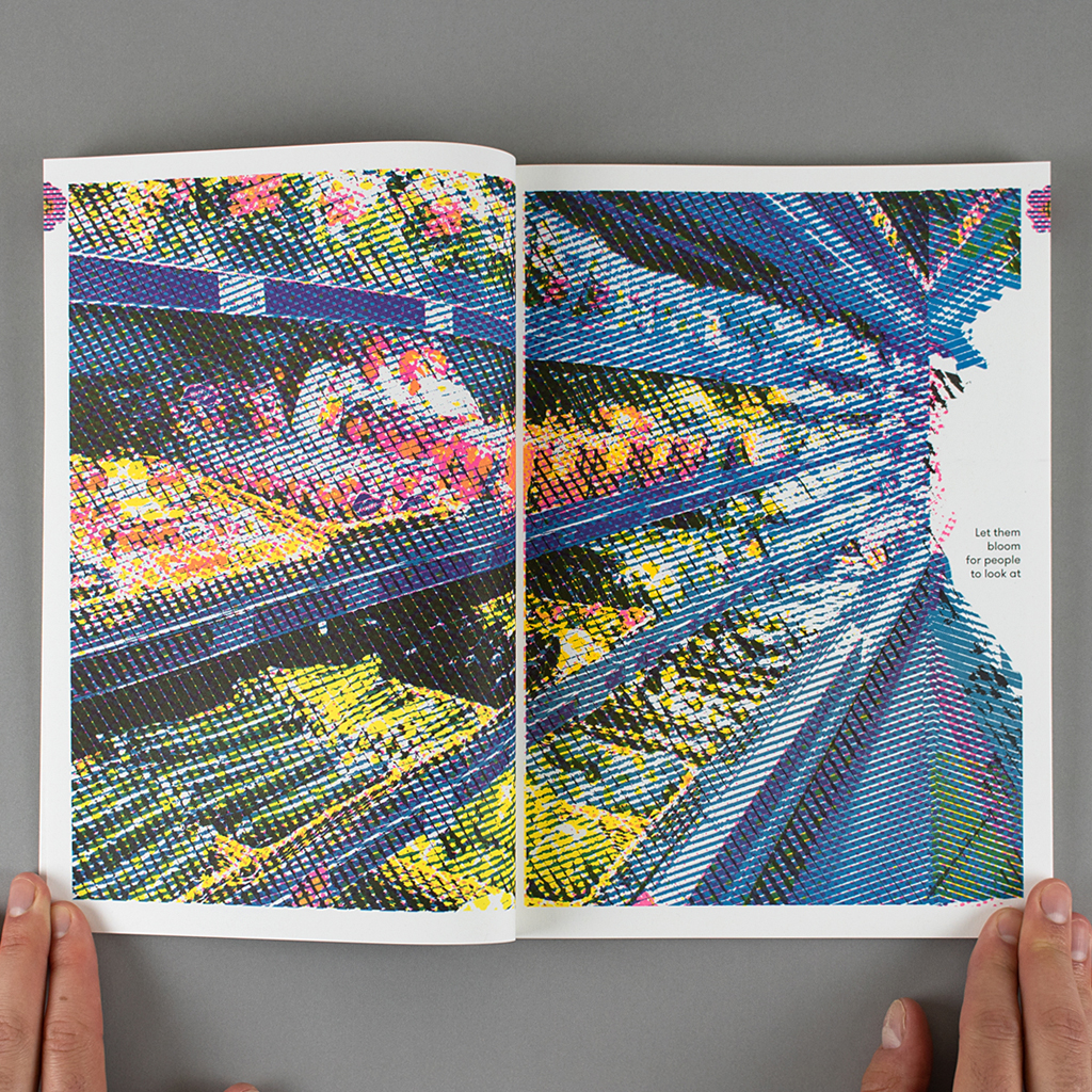 """Inside spread with image of supermarket shelves. Text reads: """"Let them bloom for people to look at"""""""