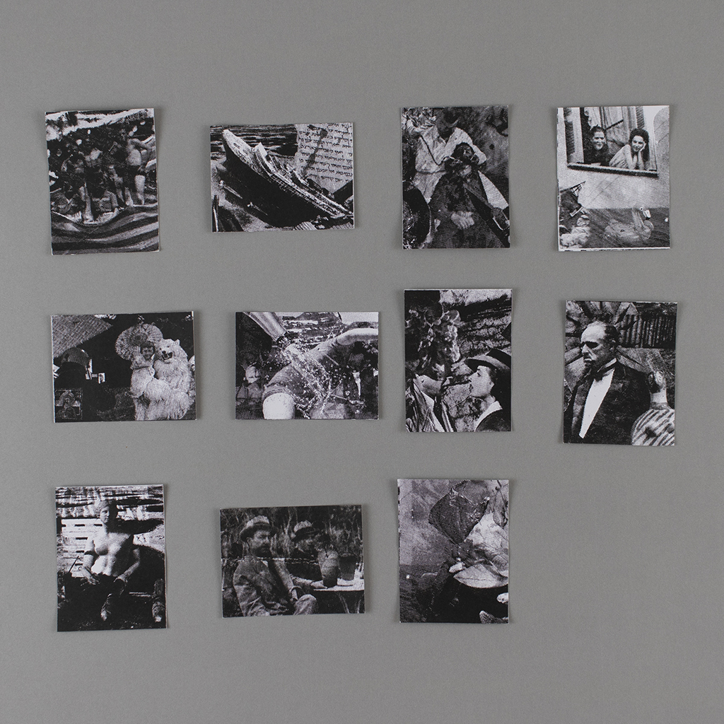 An array of 11 small, unbound black and white photocollages.