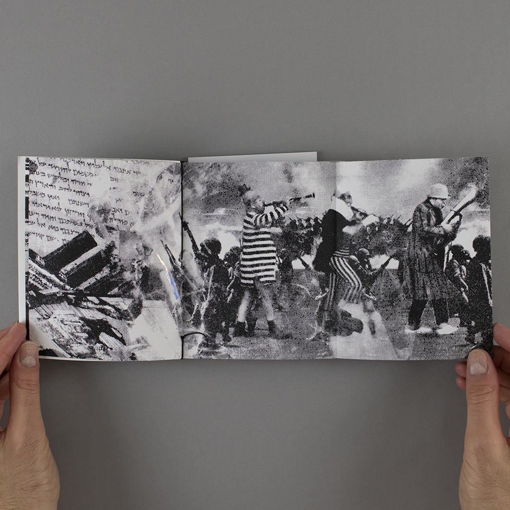 Fragmented Memory, inside fold-out: a 3-panel spread with a marching band collaged into marching soldiers.
