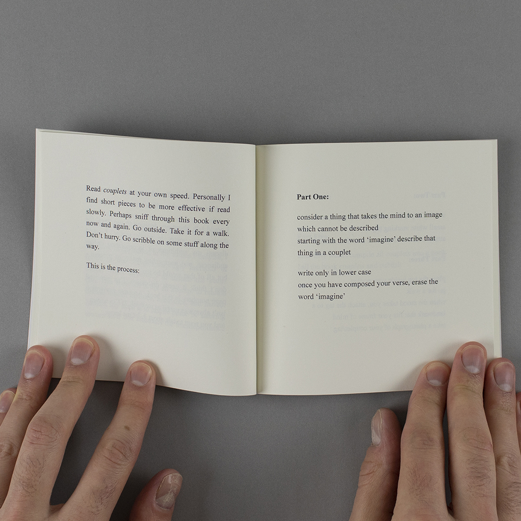 """""""Couplets"""" open to a page from John Higgs' introduction, giving whimsical instructions to the reader."""