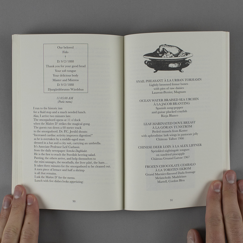 "The Marathon Poet pages 90-91, featuring a ""poetic menu"""