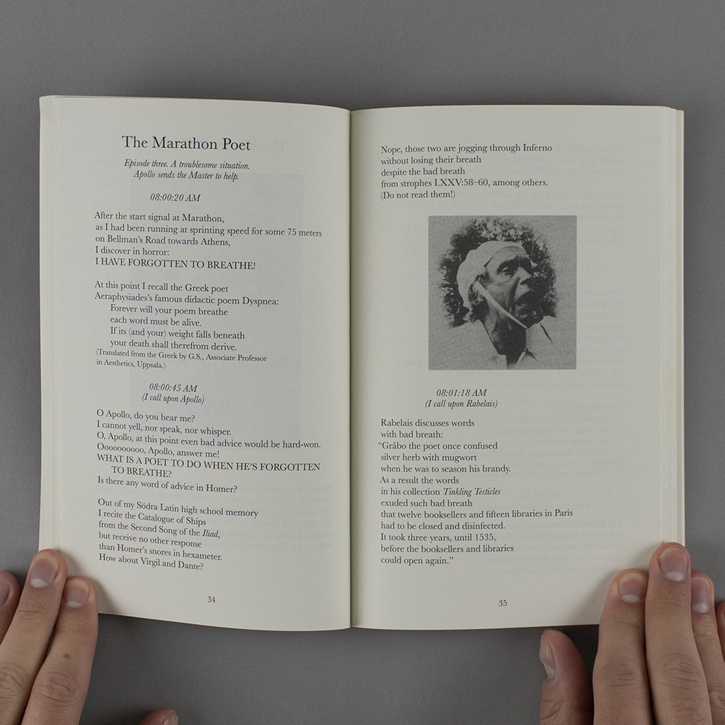 """The Marathon Poet, pages 34-35, with lines from """"Episode Three"""" and a photograph of Hodell"""