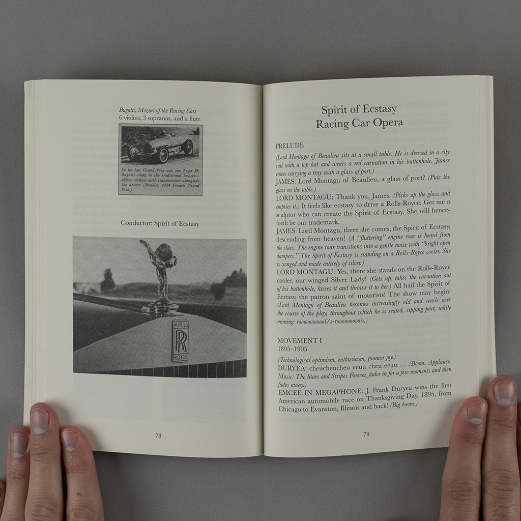 The Marathon Poet, pages 78-19: Spirit of Ecstasy Racing Car Opera. Photos on verso, text on recto.