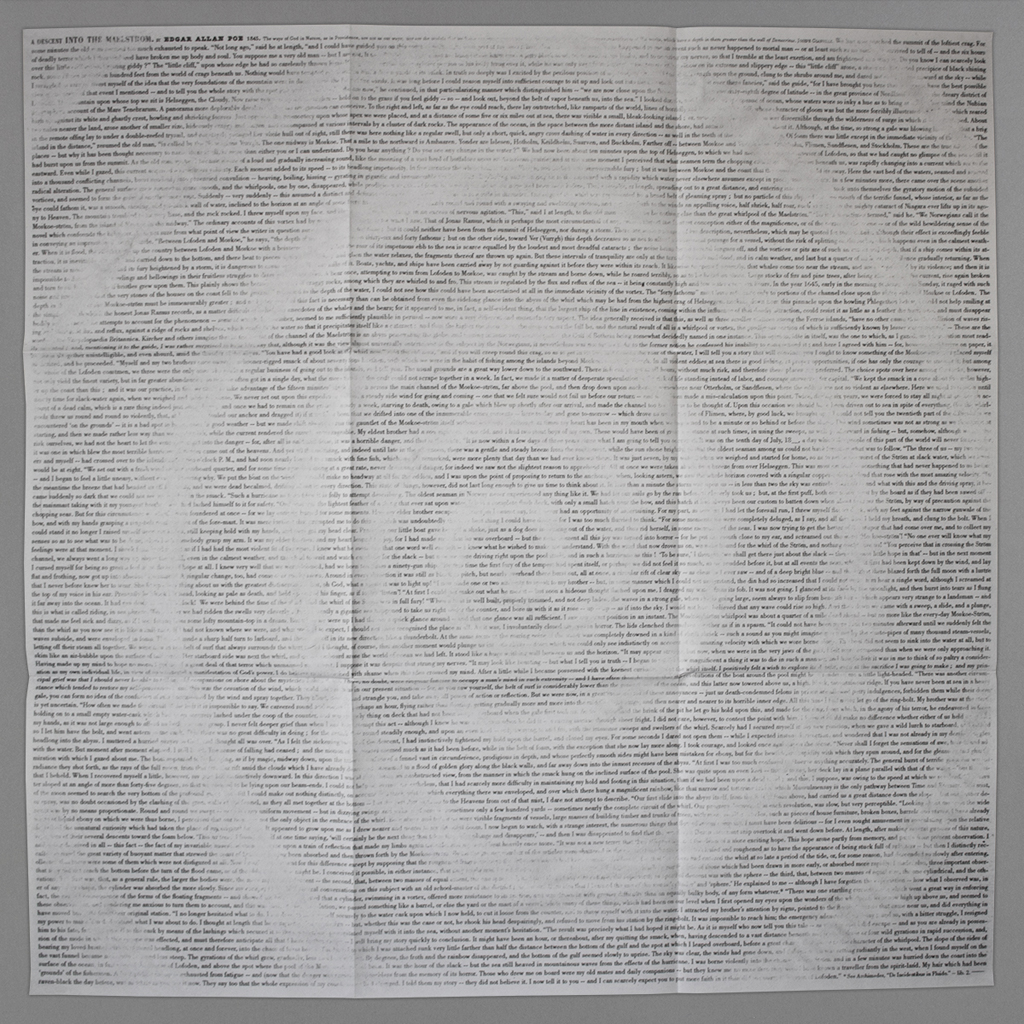 """Jérémie Bennequin, """"An Erasure into the Maelström"""" fully open to 36 × 36 in., showing a spiral form erased from the complete text of Poe's original short story."""