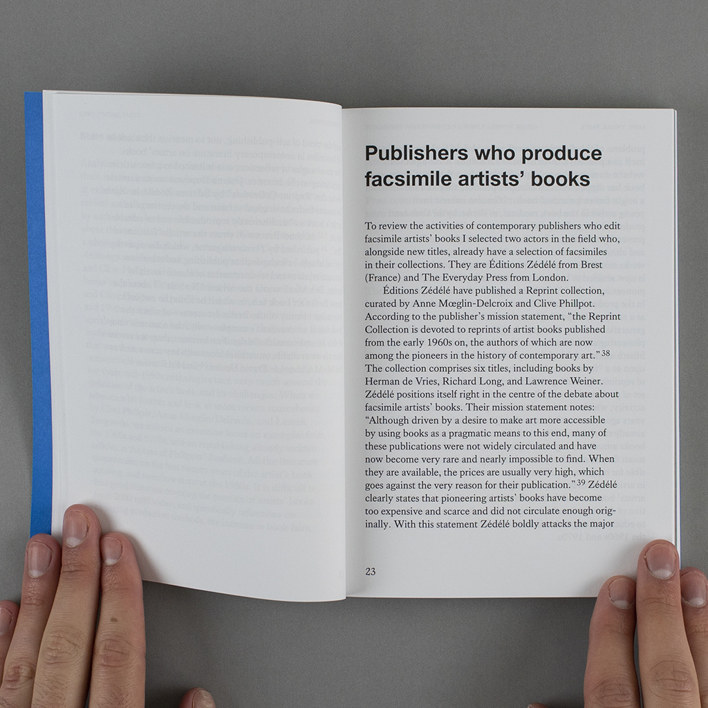 """Inside spread of """"Copy, Tweak, Paste."""" On the recto begins the chapter """"Publishers who produce facsimile artists' books"""""""