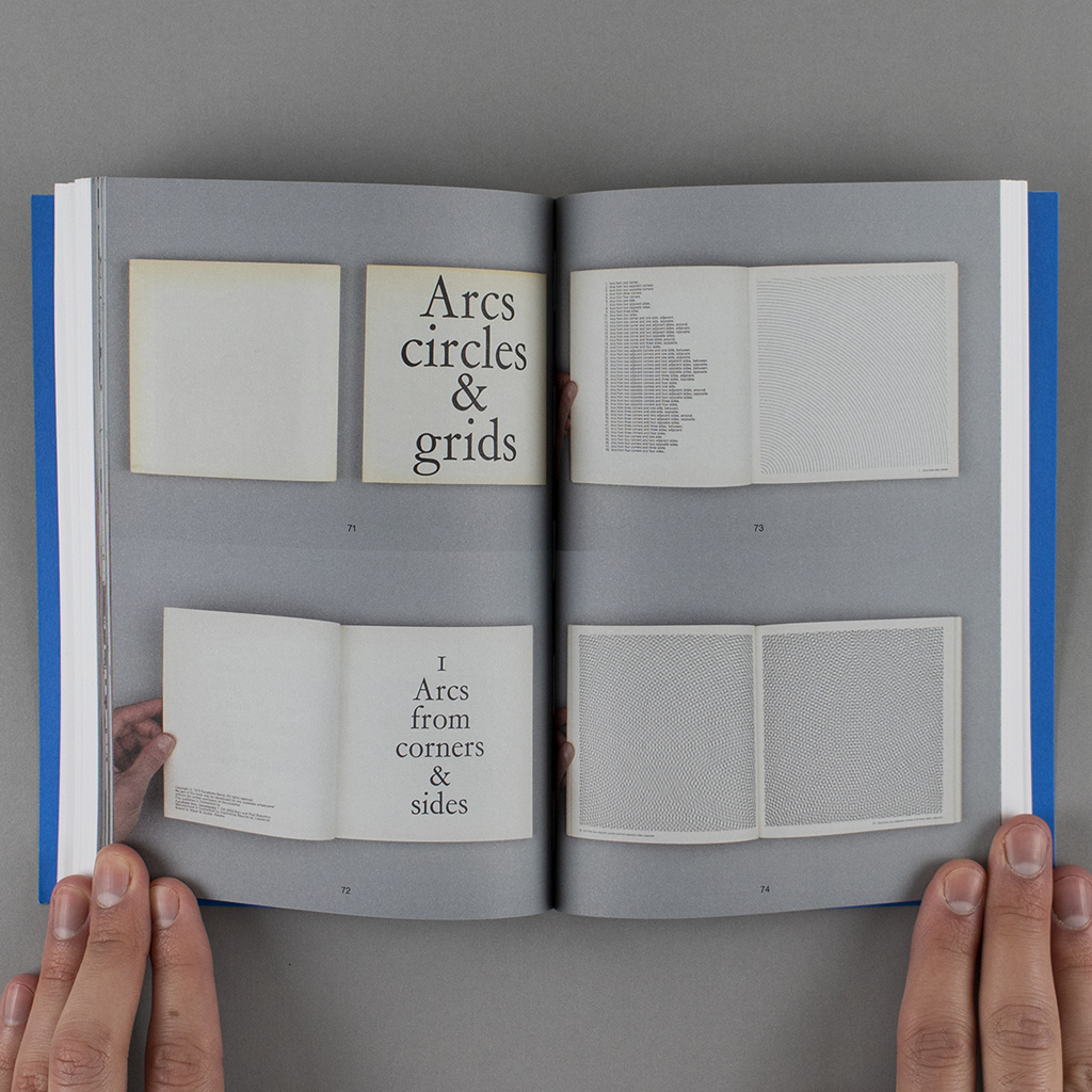 """Inside spread of """"Copy, Tweak, Paste,"""" with full-color figures of the artists' book """"Arcs from corners & sides, circles, & grids and all their combinations"""""""