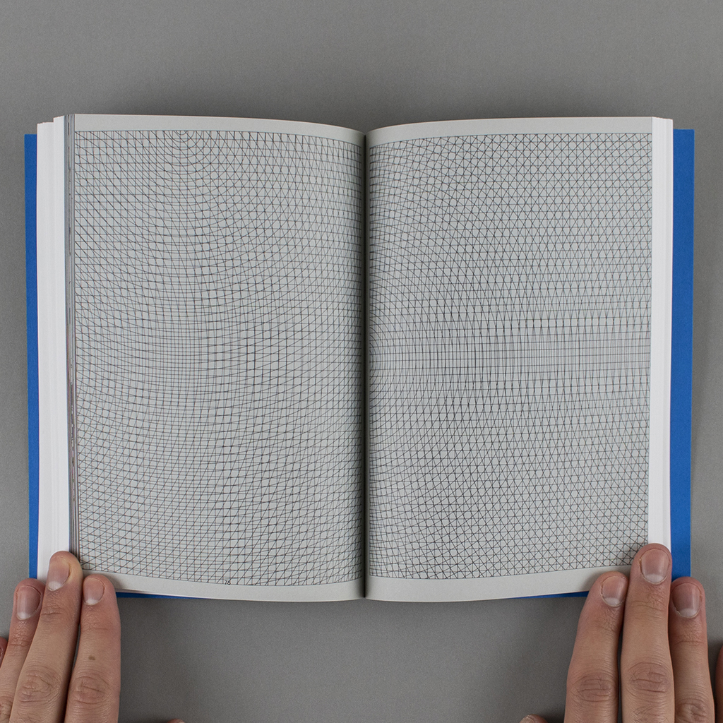 """Inside spread of """"Copy, Tweak, Paste,"""" with a full-page detail from the artists' book """"Arcs from corners & sides, circles, & grids and all their combinations"""""""