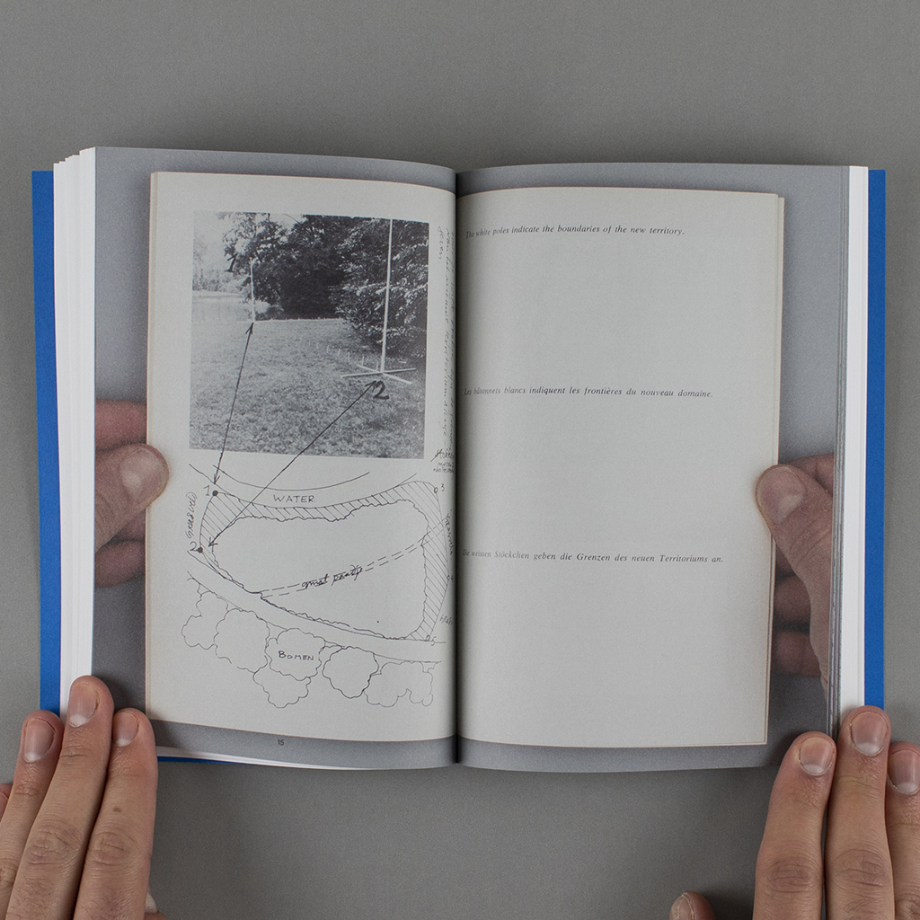 """Inside spread of """"Copy, Tweak, Paste,"""" with a full-size reproduction of a spread from the artists' book """"Territory/Sculpture 1969"""""""
