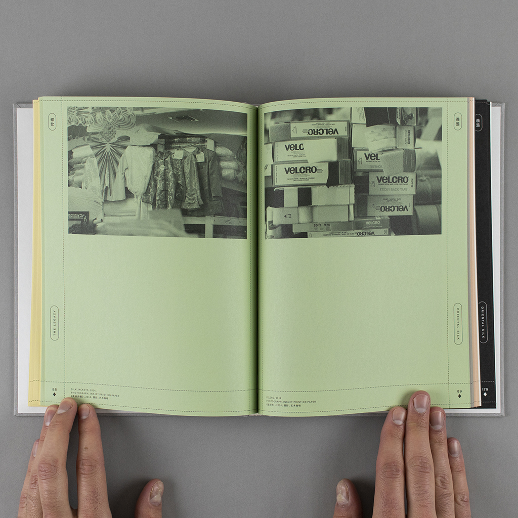 Oriental Silk inside spread, pages 88-89. Verso and recto each have a black and white photo printed on the green paper. Silk jackets on the verso and labeled boxes of velcro on the recto.