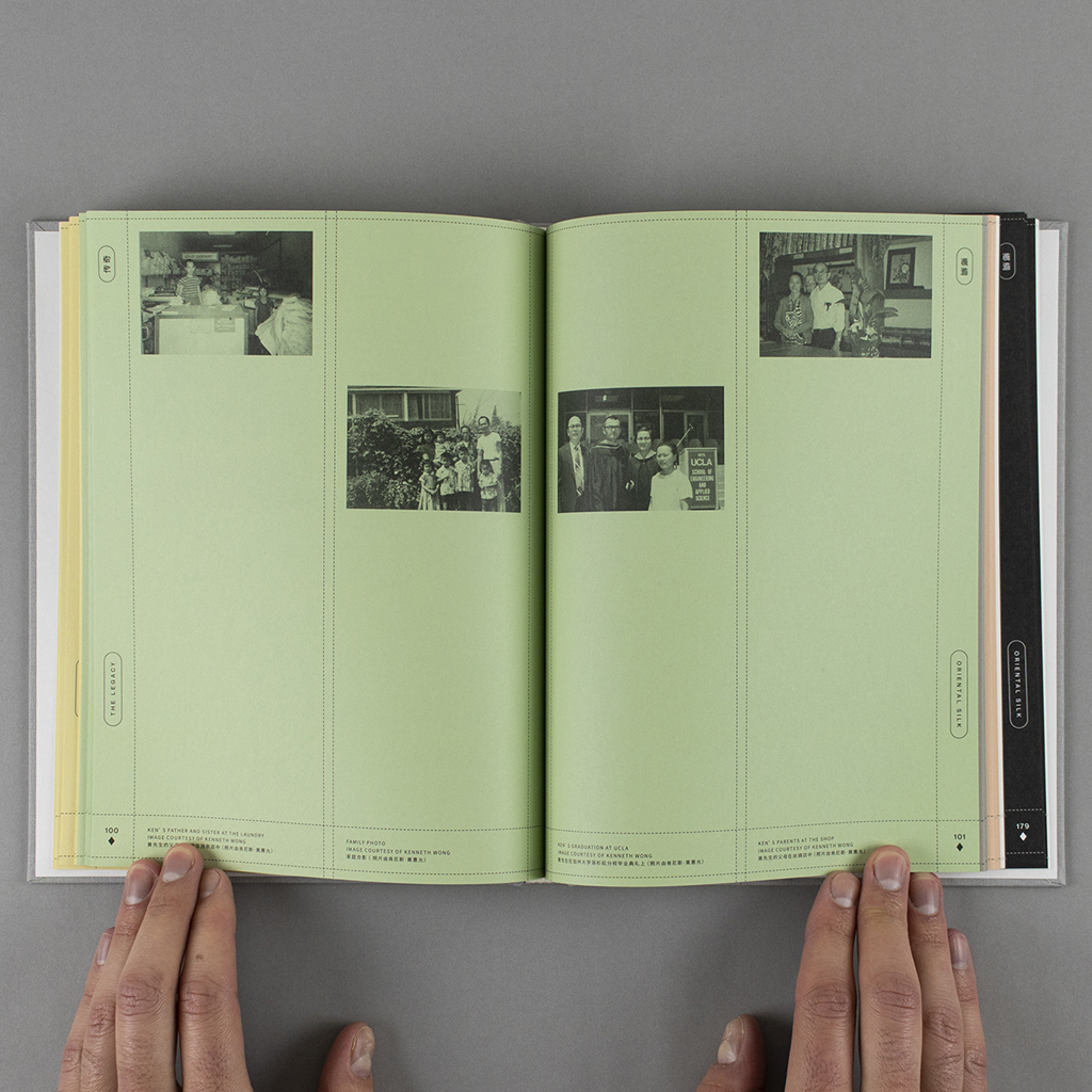 Oriental Silk inside spread, pages 100-101. Verso and recto each have two black and white Wong family photos printed on the green paper.