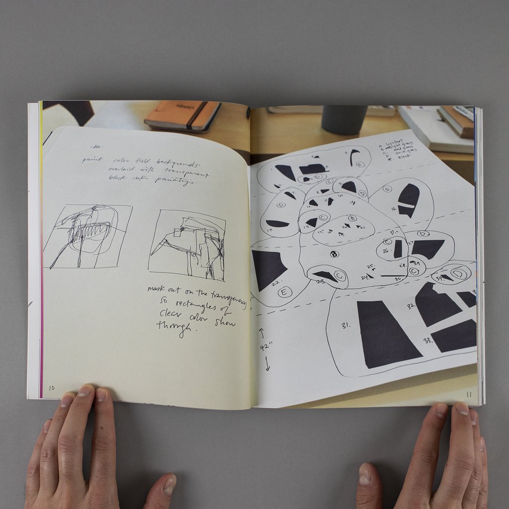 """""""Object Objects"""" inside spread pages 10-11, showing sketches, notes and numbered installation diagrams"""