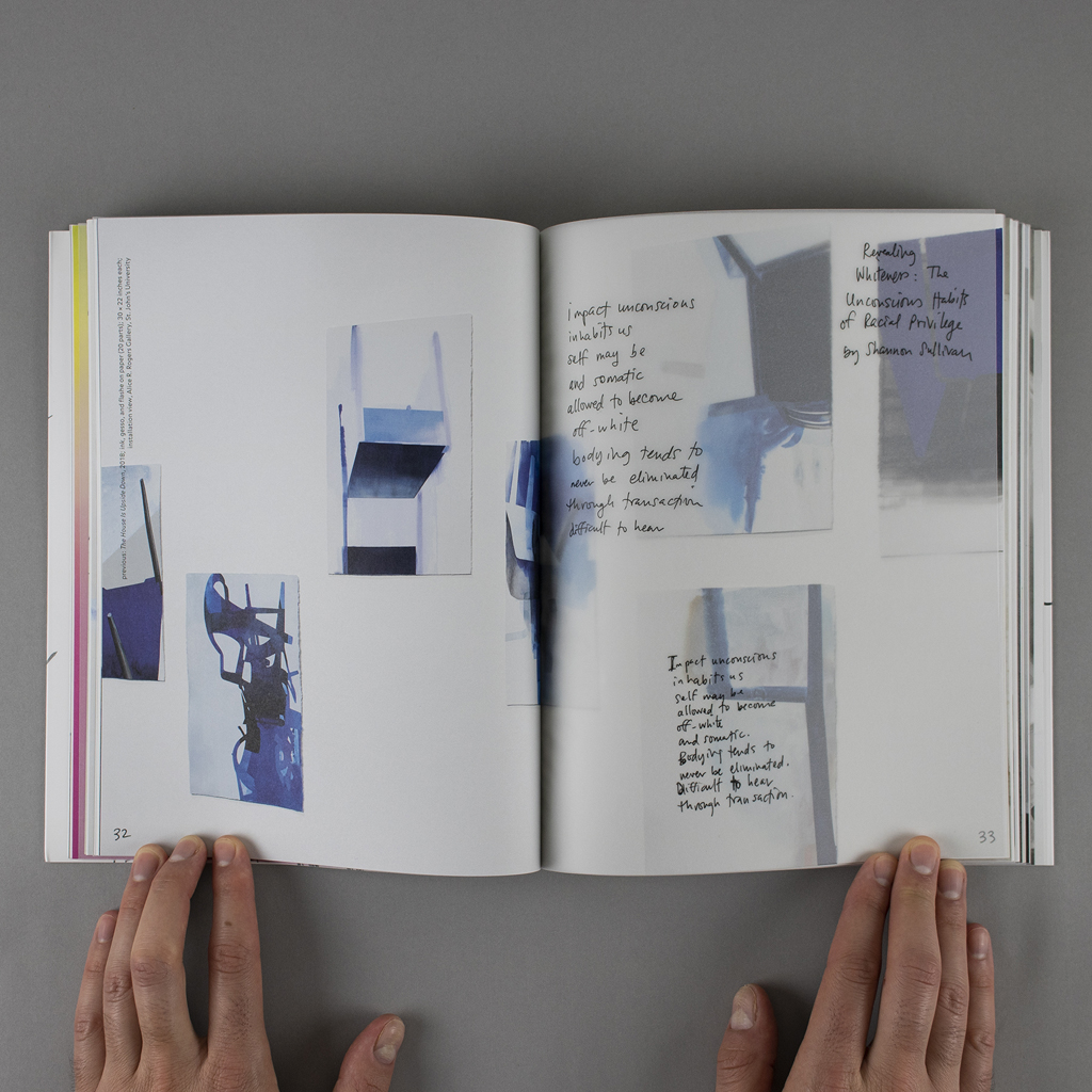 """""""Object Objects"""" inside spread pages 32-33: a vellum overlay with Kaplow's hand-written notes separates photographs of stacked chair installations"""