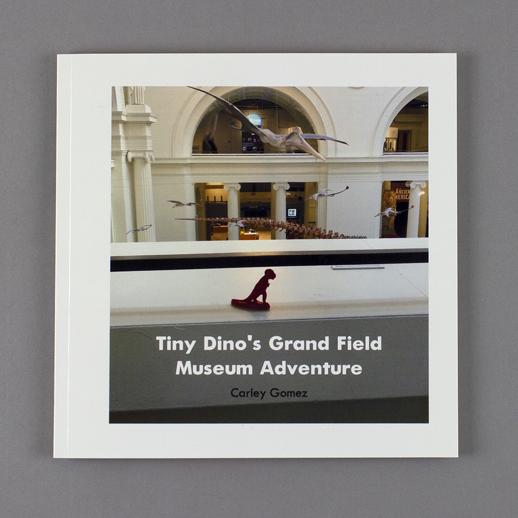 Tiny Dino's Grand Field Museum Adventure cover; plastic dinosaur overlooking the museum atrium with fossil skeletons