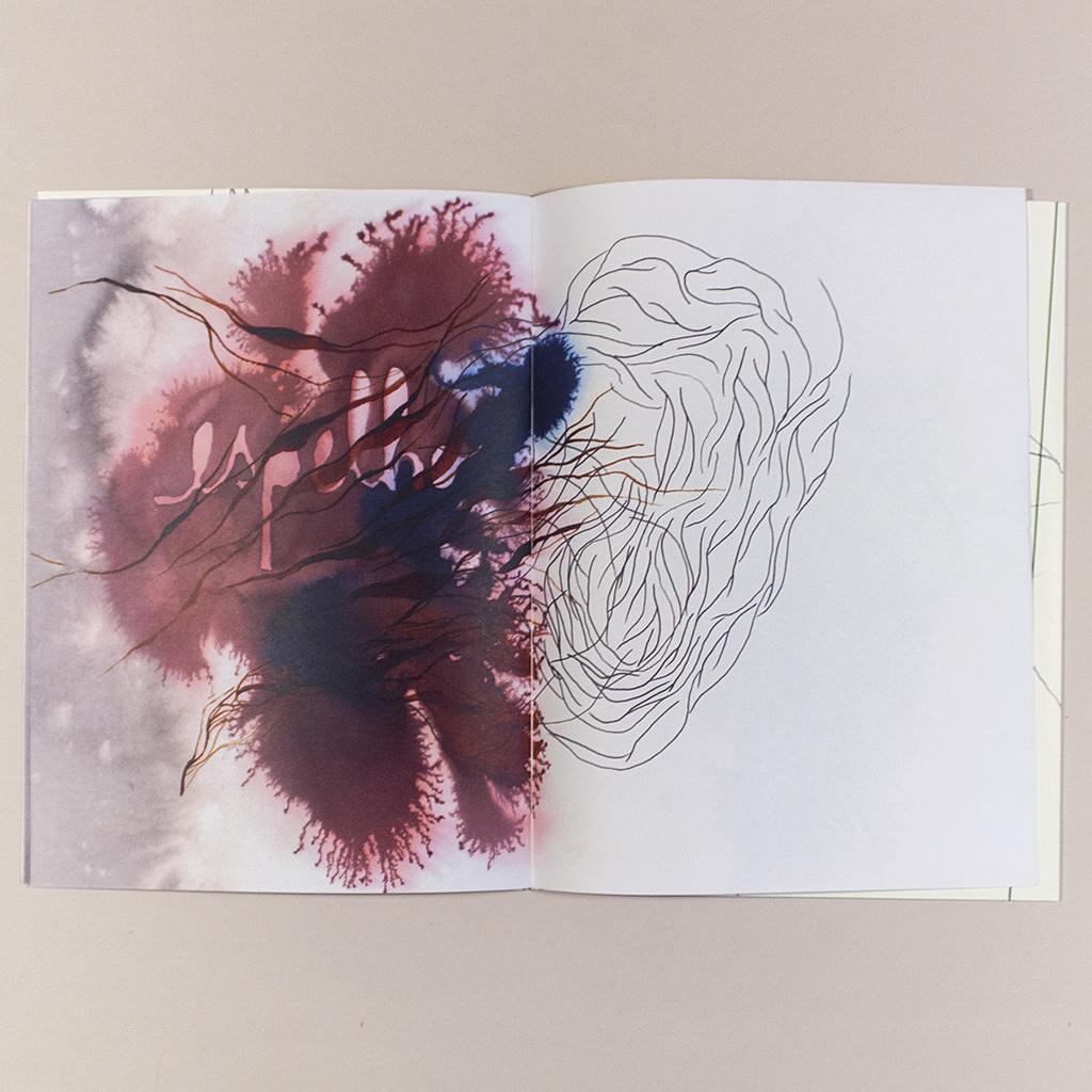 Voragem; inside spread shows wet media blending into a line drawing