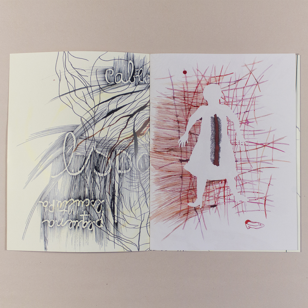Voragem; first opening (inside cover and page 1) shows a tangle of lines and a silhouette of a woman