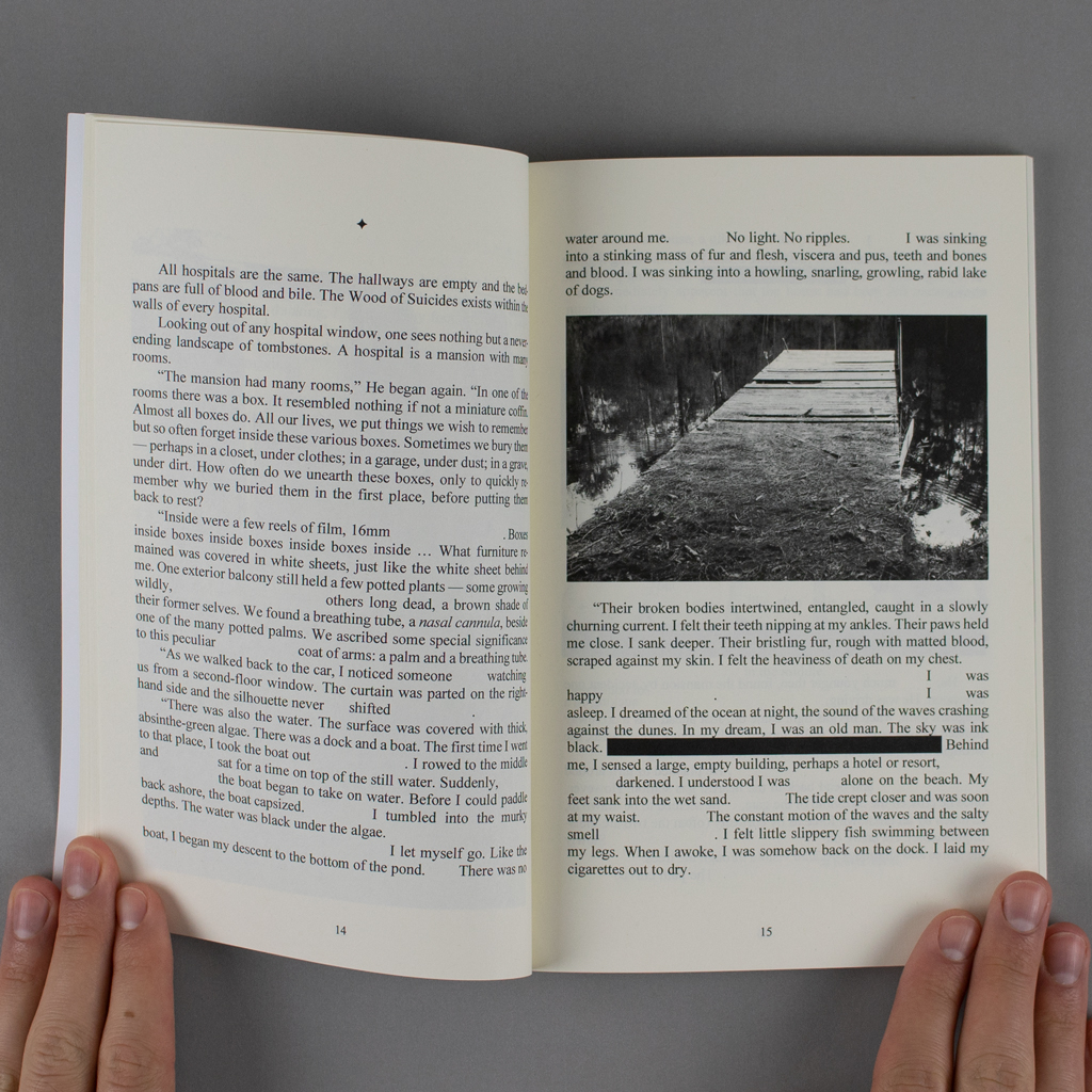 Convalescence inside spread. On the verso conventional paragraphs are interrupted by blank spaces. The recto includes a black and white photo of a decaying dock and text redacted by a black rectangle.