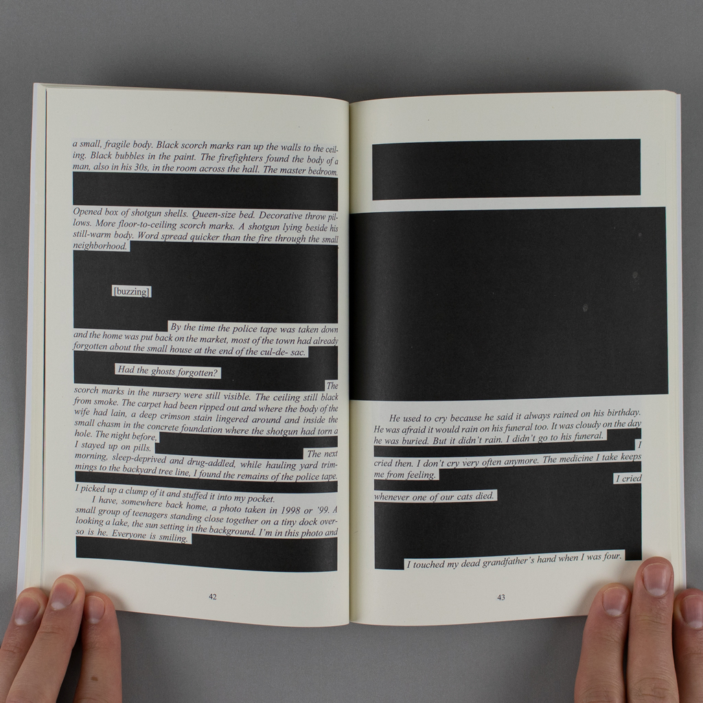 Convalescence inside spread. Conventional book typography is heavily redacted beneath black rectangles. The recto is almost entirely blacked out.