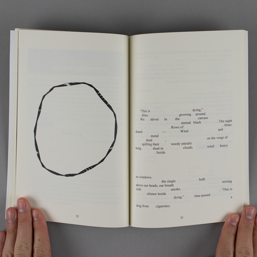 Convalescence inside spread. On the verso a photograph of a magnetic tape forms a twisted circle in the middle of an otherwise blank page. The recto contains a poetic text with large gaps where a longer text has been redacted.
