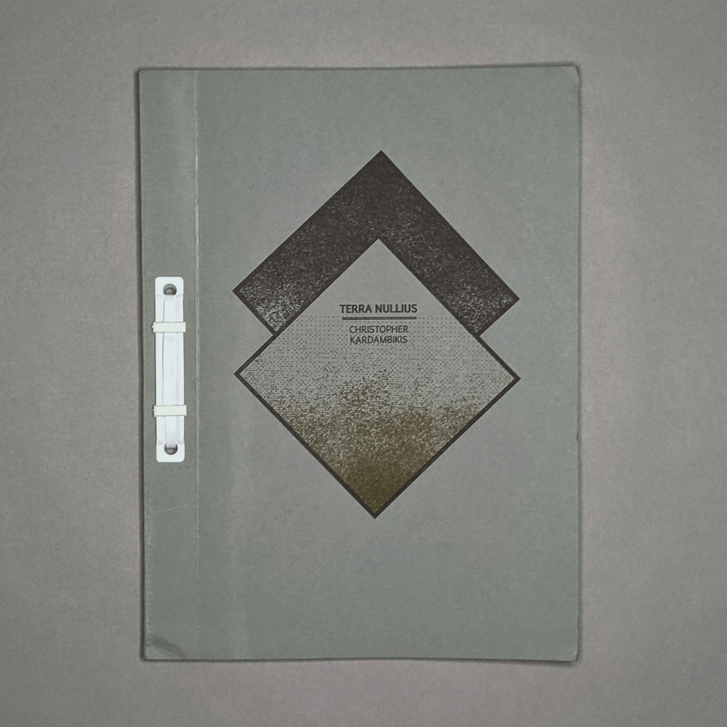 Terra Nullius front cover. The title and artist are centered in a black and gold geometric abstraction.