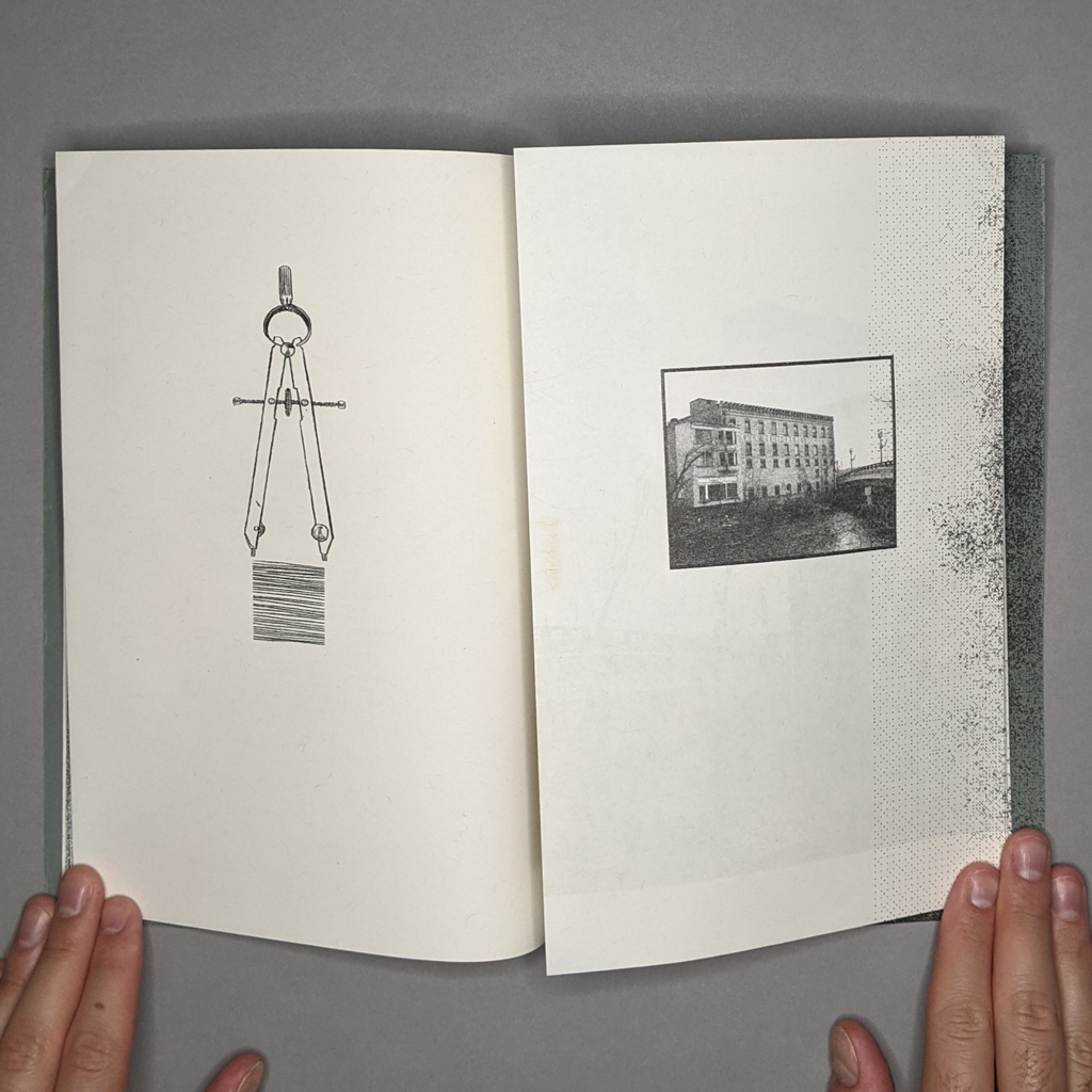 Terra Nullius inside spread. On the verso a drawing of dividers, on the recto a photo of a building.