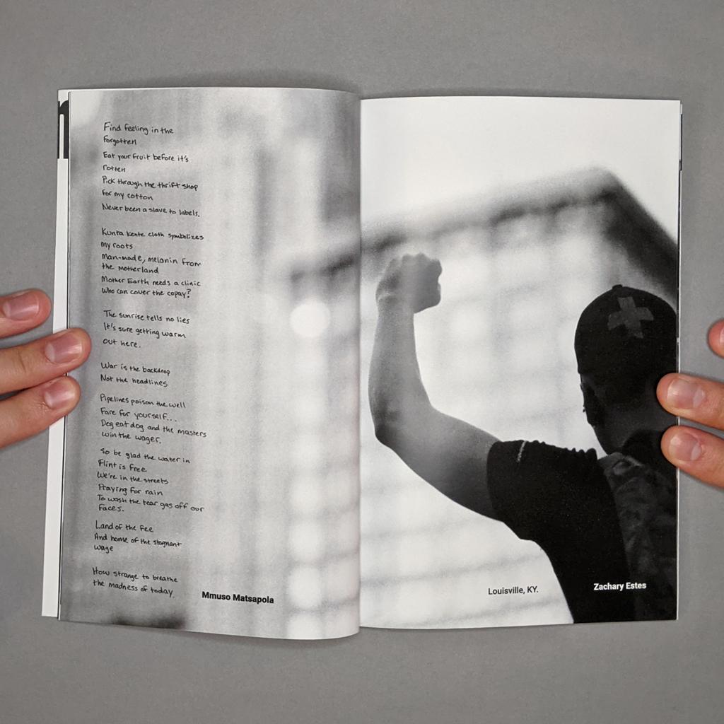 Witness 001 Inside spread 7-8: Mmuso Matsapola's poem verso, Zachary Estes photo recto