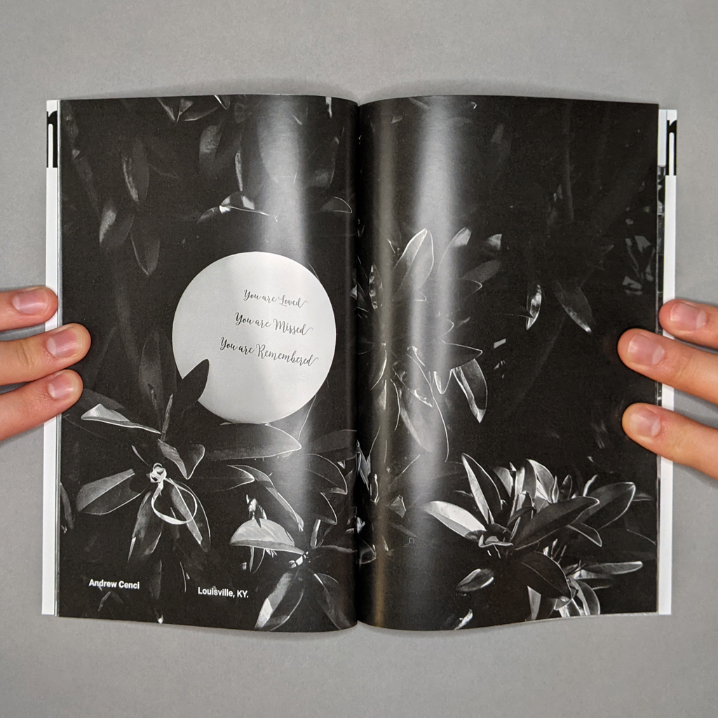 Witness 001, inside spread 15-16: with photo by Andrew Cenci