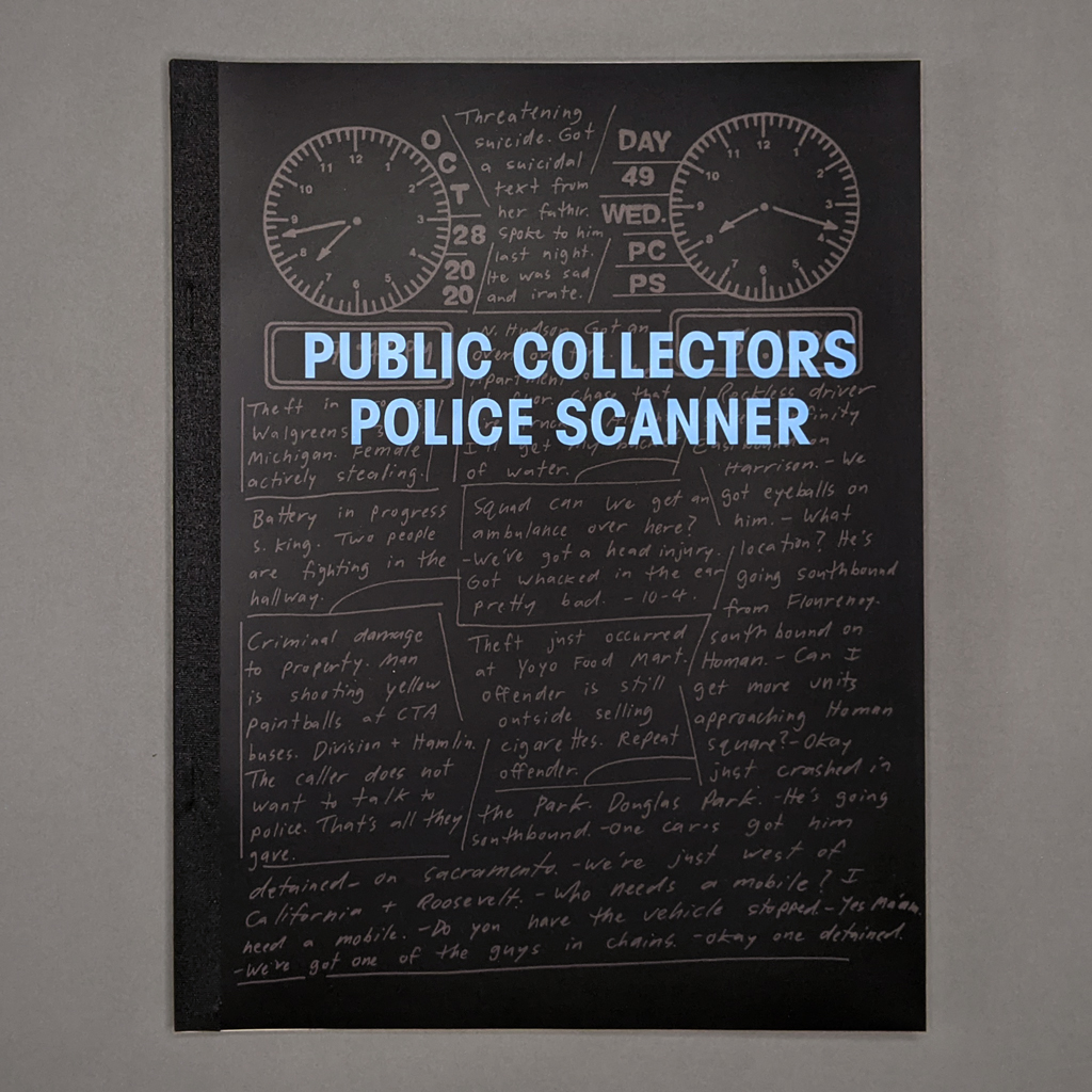 """Front cover of """"Public Collectors Police Scanner"""" featuring blue title text on a black background. A reproduction of an inside page is printed in gray behind the title."""
