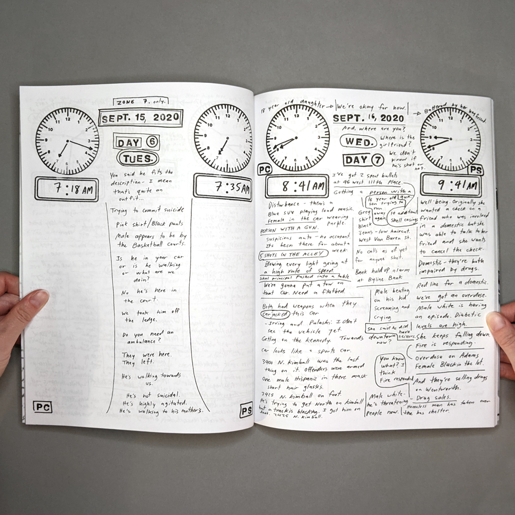 Police Scanner Inside spread. The verso has a narrow column of text in the center of the page, describing a suicidal-then-agitated man. The recto is a busy page with boxes, lines and bubbles separating text.
