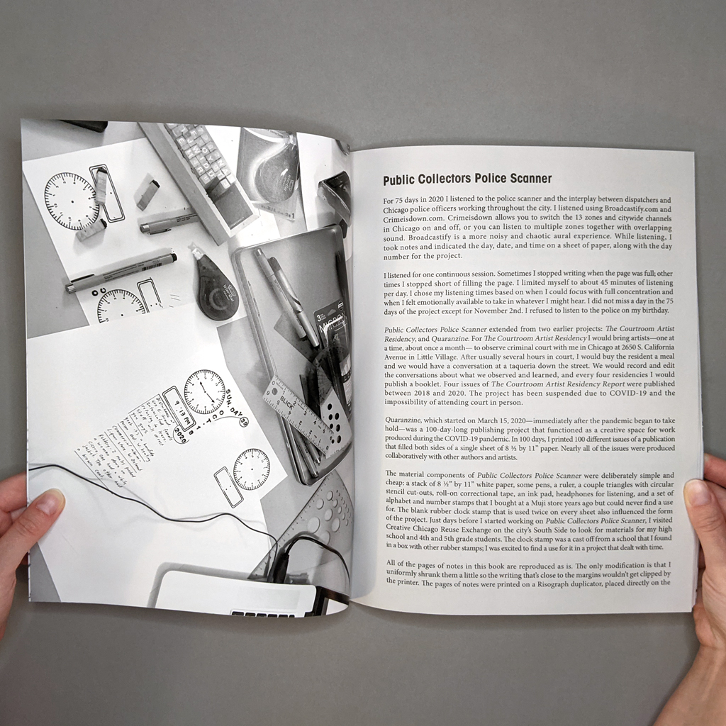 Police Scanner Inside spread. The verso is an endsheet with a photo of Fischer's desk during the project. The recto is plain text, the first page of the book's introduction.
